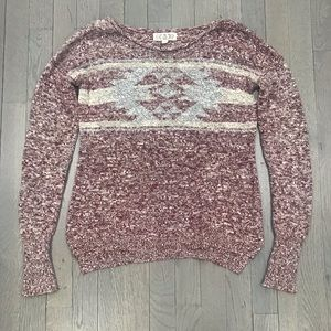Pink Rose Knit Aztec Print Long Sleeve Sweater